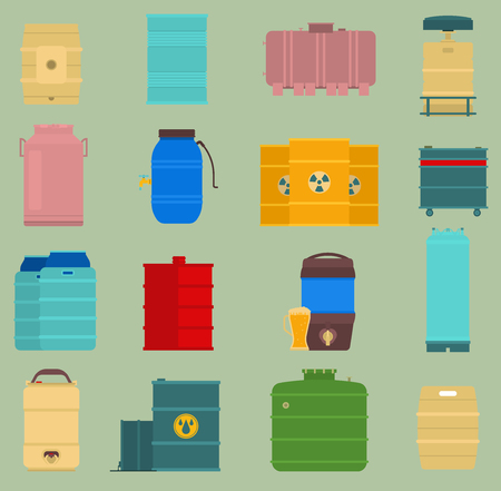 Rows of steel barrels capacity tanks on green background vector illustration Vettoriali