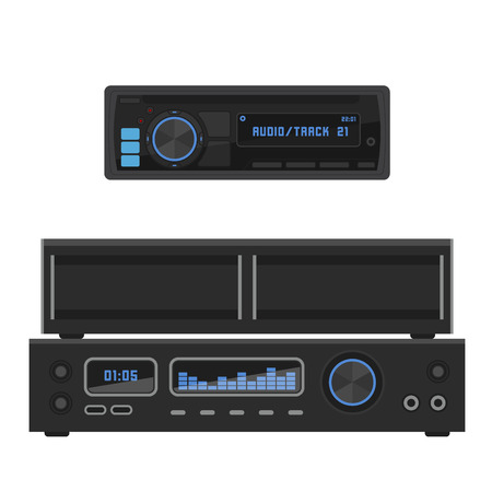 Acoustic sound system stereo flat vector music loudspeakers player receiver subwoofer remote equipment technology illustration. Professional media acoustic system entertainment tool. Illustration
