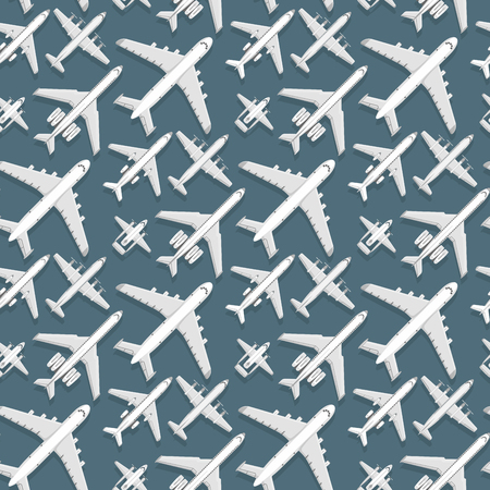 Airplane seamless pattern background vector illustration top view plane and aircraft transportation travel way design journey object. 일러스트