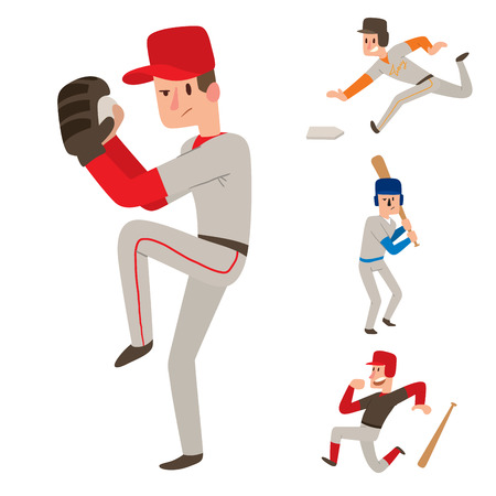 Baseball team player vector sport man in uniform game poses situation professional league sporty character winner illustration. Youth boy competition adult athlete person.
