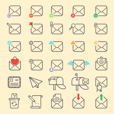 Email envelope cover vector outline icons communication web symbols set. Office correspondence blank covere-mail address design. Business web letter writing message love, wings, fly. Illustration