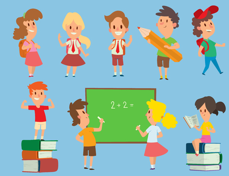 Student in school vector set Illustration