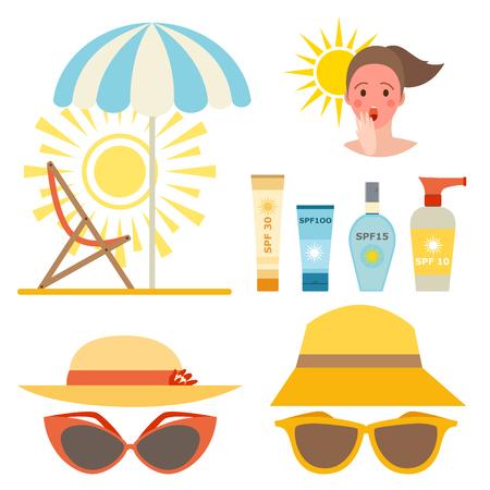 Sahnesonnenschutzflaschenvektorikone sunblock kosmetischer Sommerbehälterrohrantisonnencreme, die Design ackaging ist.