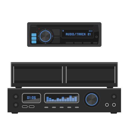 Sistema de sonido acústico estéreo vector plano música altavoces reproductor subwoofer tecnología de equipos. Foto de archivo - 96797689