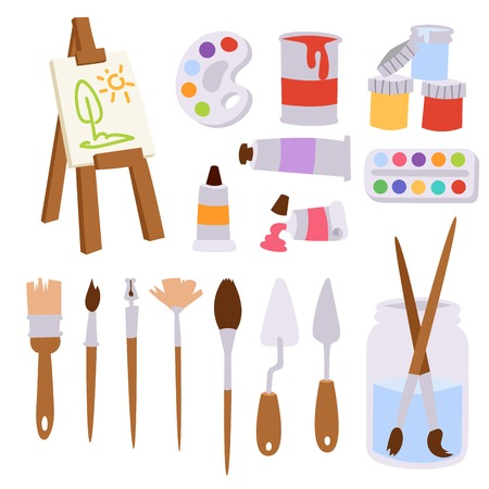 Painting art tools palette vector illustration details stationery creative paint equipment creativity artist instrument. Stock Illustratie