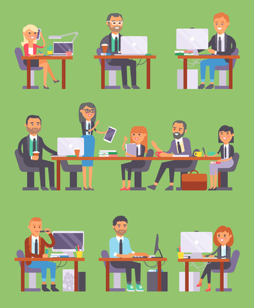 Flat vector business people workplace office worker or person working on laptop and PC at the table in office coworker or character workplace on computer and business meeting isolated on background