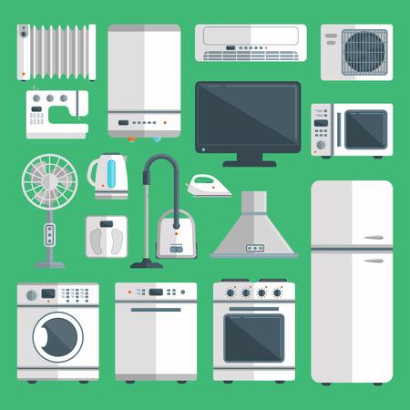 キッチン機器の背景イラストに隔離されたベクター家電。