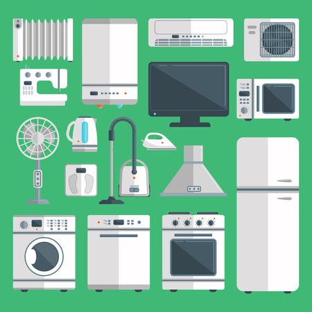 A Vector home appliances isolated on background illustration of kitchen equipment.