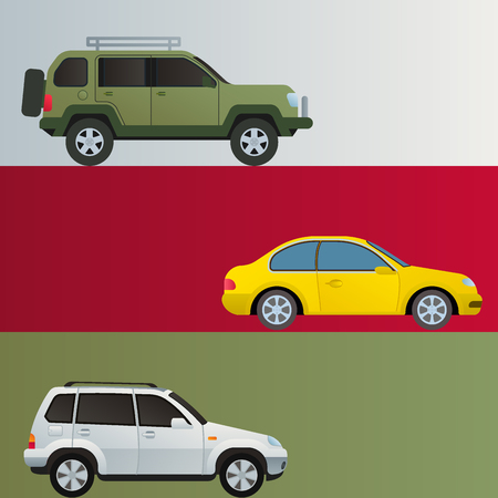 Various types of cars like sedan and suv in flat vector illustration.