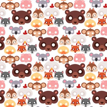 Animals carnival mask vector seamless pattern background illustration. Illustration