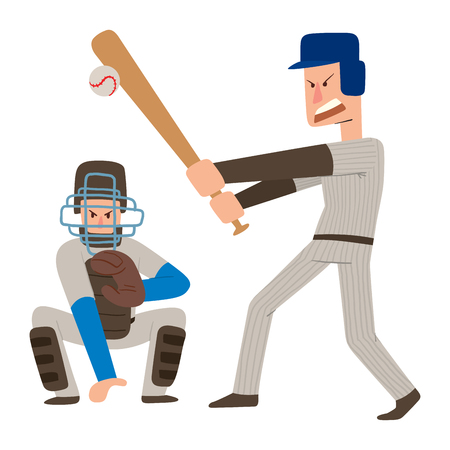 Baseball illustration of a player hitting the ball with the bat with catcher illustration