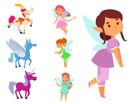 Sets of fairies and unicorns illustration Illustration