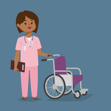 Doctor or nurse character staff with wheel chair