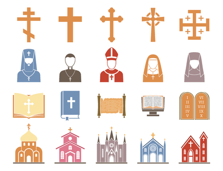 Religion vector illustration set with different crosses, priests, bibles and churches Çizim