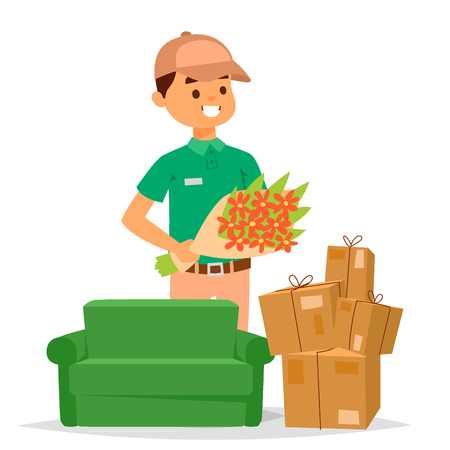 Delivery man delivering boxes and flowers. Vector illustration