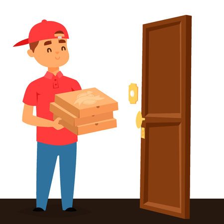 Pizza Delivery man vector illustration Banque d'images - 96761351