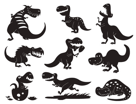 Various dinosaur silhouette illustration set such as T.Rex Stock Vector - 96761548