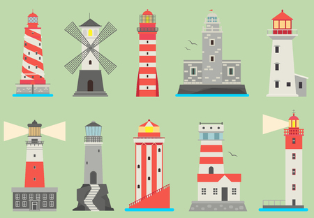 Sea and ocean flat vector lighthouses searchlight towers for maritime navigation guidance ocean and sea beacon light tower light house travel sailing signal navigation symbol Illustration