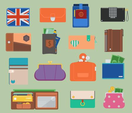 Portemonnee en portemonnee vector set