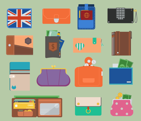 Wallet and purse vector set