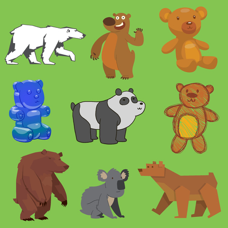 Different types of bear vector set
