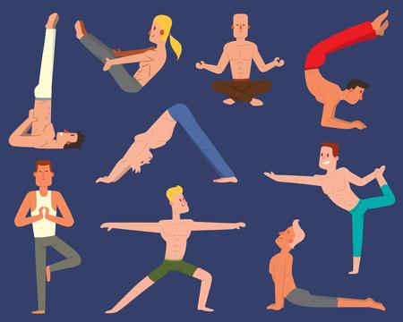 Fitness group doing yoga vector set Ilustracja