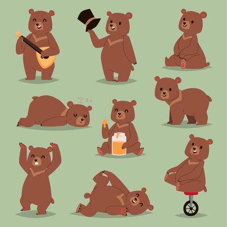 귀여운 만화 벡터 곰 감정 갈색 캐릭터입니다. 행복 미소 곰 그리기 포유류 테 디 미소. 쾌활 한 마스코트 만화 곰 회색, 꿀, 서커스 자전거 바퀴와 젊은, 아기 동물 동물원.