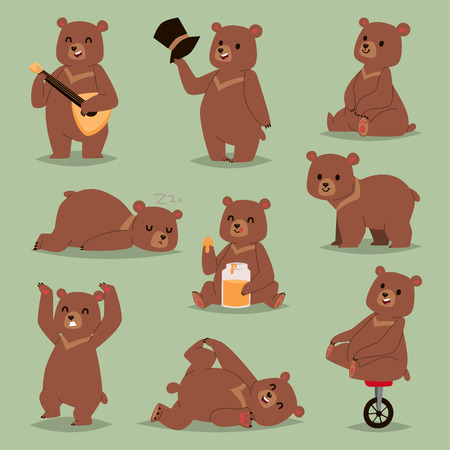 Cute cartoon vector bear emotions brown character. Happy smiling bear drawing mammal teddy smile. Cheerful mascot cartoon bear grizzly, young, baby animal zoo with honey, circus bike wheel.