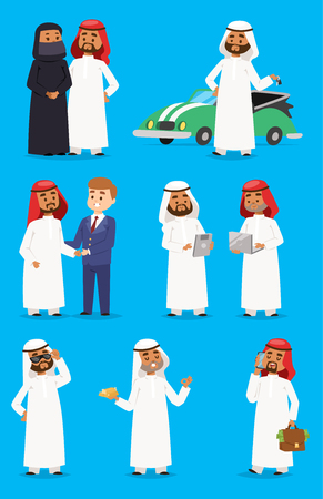 Kreskówka arabski biznesmen wektor znaków w ubrania tradycyjnej religii. Narodowy strój arabski strój arabskiego księcia odzież męska. Arabski książę jest szejkiem przyjaznym sztuce i kulturze kraju wschodniego.