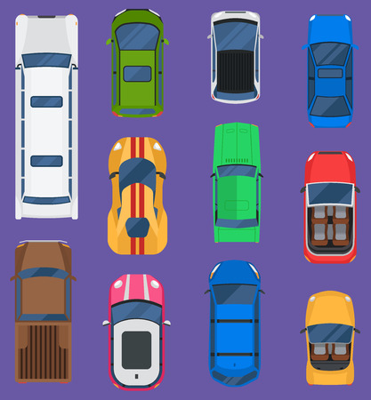 Top view of different automobile vehicle, isolated on background.