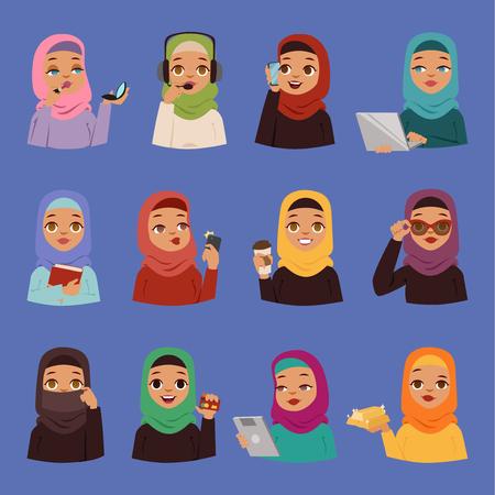 Muslim on religious Arabic on traditional Islamic hijab dress. Stock Illustratie