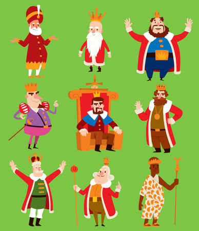 Fairy tale costume of kings on different kingdom illustration. 矢量图像