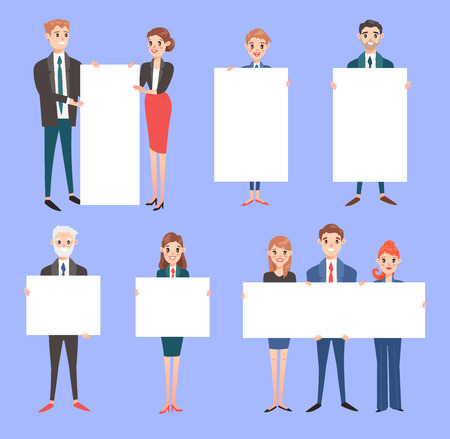 Businessman with banner vector business people holding empty banner isolated on background. Business teams people woman and man hold banner standing advertisment presentation white sheet