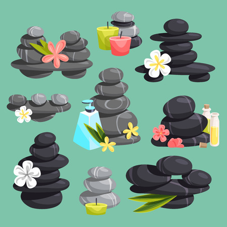 Spa stones vector stack beauty hot procedure isolated on background. Spa stones pebble concept therapy, heat cosmetic center beauty tranquil relax flowers and aroma oil Illustration