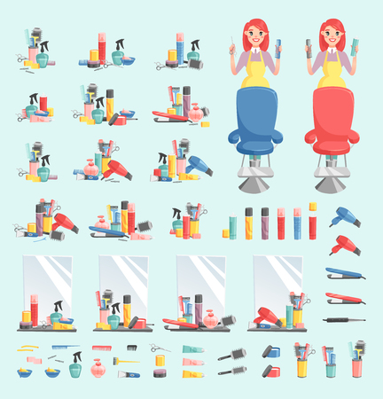 Vector girl hairdresser with hair clipper and hair brush portrait in full growth isolated on background. Professional stylish barber girl hair cutting tools. client mirror glamour barber girl 일러스트