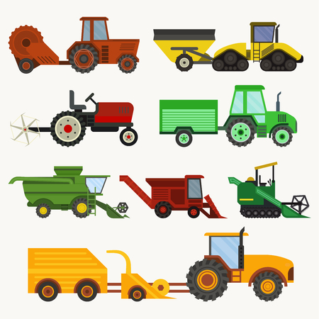 Vector agricultural vehicles harvester machine and combines excavators set different types agricultural harvester machine with accessories for plowing, mowing, planting and harvesting.