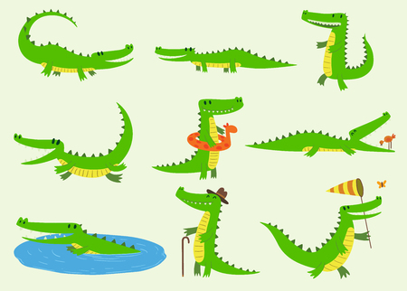 Cartoon vector crocodiles characters different green zoo animals. Cute crocodile funny animal with bath toy and big teeth. Happy predator reptyle character mascot comic color illustration