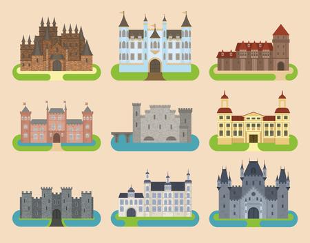 Architekturillustrations-Fantasiehausmärchenmittelalterliches Schloss kingstone castleworld der alten Vektorschloss-Turmikone der Karikatur flache die lokalisierte Karikaturhochburg-Designfabel