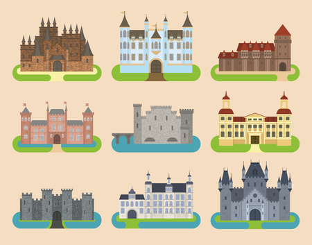 Cartoon old vector castle tower icon flat architecture illustration fantasy house fairytale medieval castle kingstone castleworld cartoon stronghold design fable isolated Иллюстрация