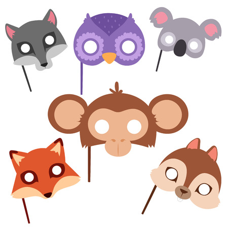 Animals carnival mask vector festival decoration masquerade and party costume cute cartoon head decor celebration illustration.