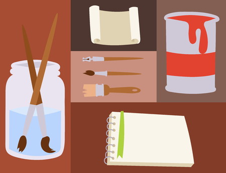 Painting art tools palette vector illustration details stationery creative paint equipment creativity artist instrument.  イラスト・ベクター素材
