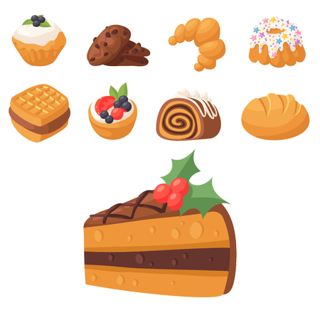 Bakery food illustration set