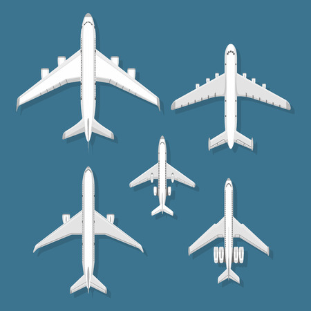 Airplane vector illustration top view plane and aircraft transportation travel way design journey object. Illusztráció