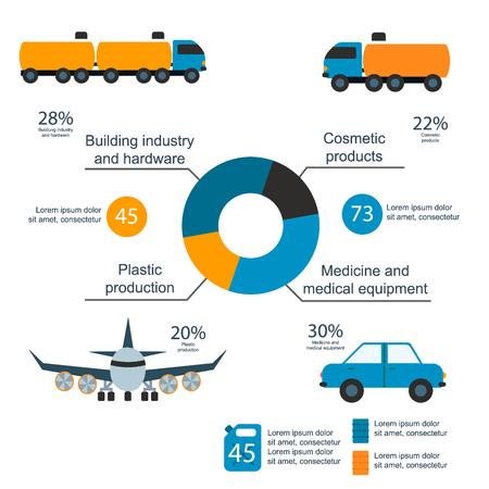 Oil gas industry vector manufacturing gas infographic world oil production distribution petroleum extraction illustration Ilustração