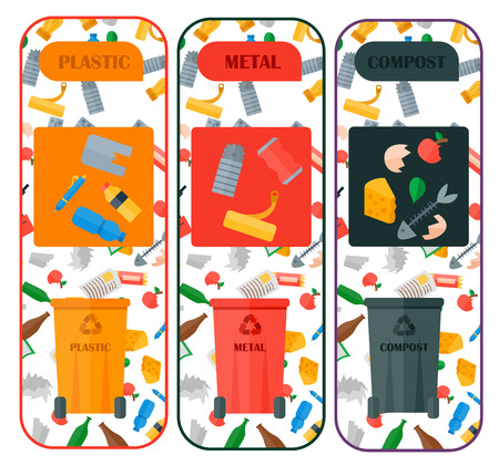 Weste recycling vector garbage cards waste types sorting processing treatment remaking trash utilize recycling icons illustration. Garbage boxes and bins