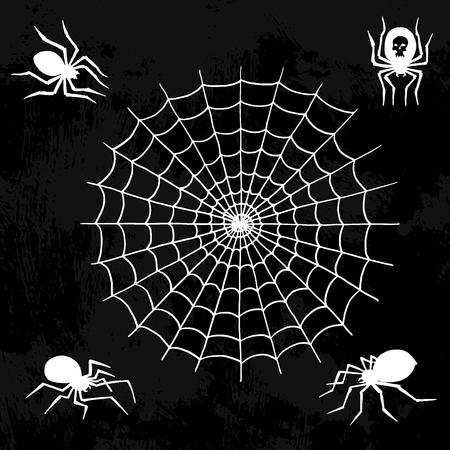 クモベクターウェブシルエット不気味なクモの自然のハロウィーン要素クモの装飾は不気味なネットを恐れています。
