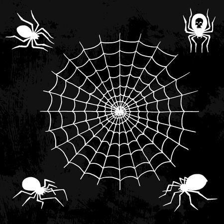 Spiders vector web silhouette spooky spider nature halloween element cobweb decoration fear spooky net. Çizim