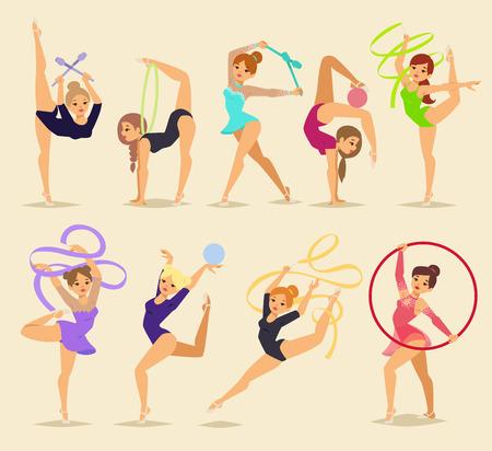 Ballerina female dancers fitness traditional vector silhouettes on background. Elegance performance ballet dancer girl. Illustration