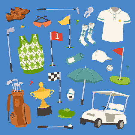Golf player clothes and accessories vector illustration. Golfing club male outdoor game player.