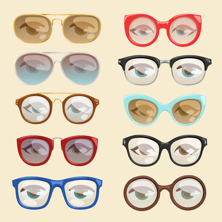 Vector cartoon glasses set illustration
